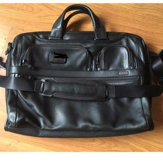 Tumi Alpha 2 leather large compact laptop bag