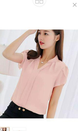🍉 Lovely Short Sleeve Chiffon Work Blouse