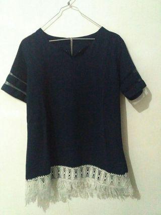 Turun harga!!! Navy blouse & cream blouse