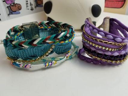 磁扣手鏈珠編七色彩