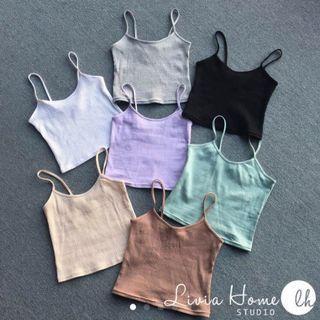 🚚 grey crop cami top