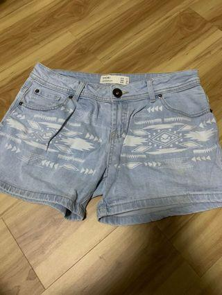 Tribal print Denim shorts