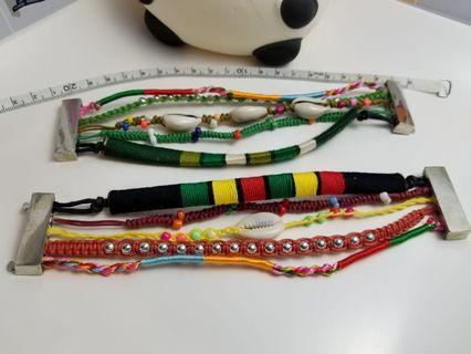 七彩磁扣貝殼編織手鏈