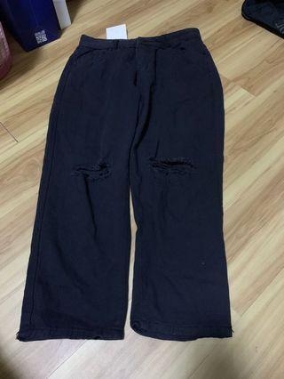 Black Slit Jeans