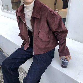 🚚 燈芯絨酒紅夾克外套