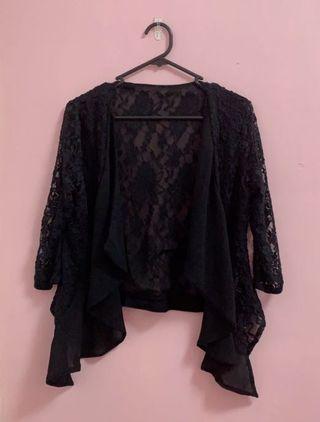Black Waterfall Lace Cardigan