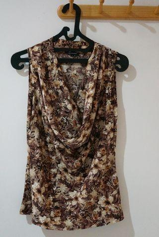 Executive blouse corak bunga brown