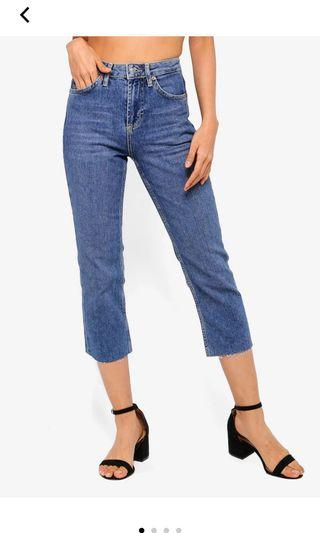 Topshop PETITE Mid Stone Straight Jeans 25