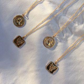 coin & rose pendant necklaces