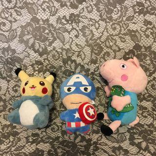 Pokémon、Pappa Pig、Capitan America 公仔