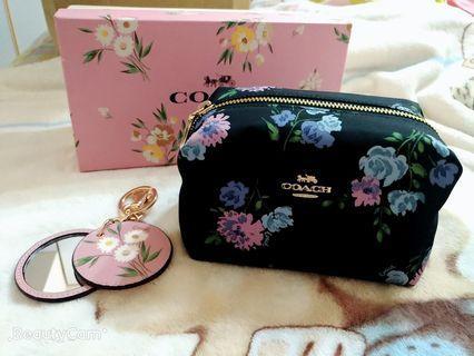 Coach 化妝包+鏡子 禮盒組