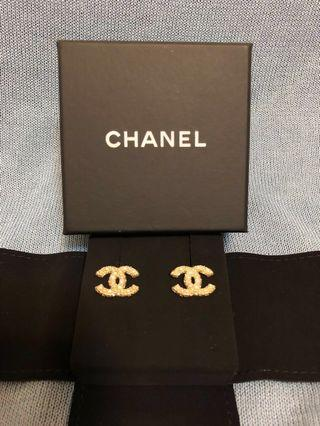 Chanel 珍珠水鑽金CC耳環 A64766 真品