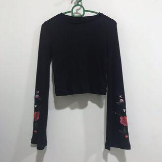 Embroided Long sleeve croptop