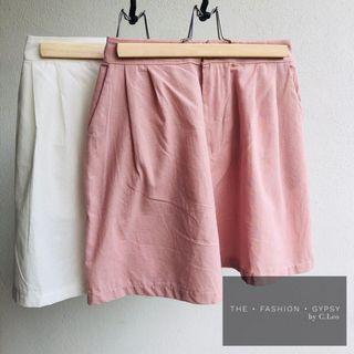 Linen cotton hi-waist shorts