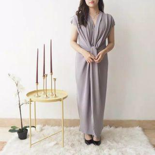 Long Wrap Dress Semi Kaftan - Light Grey V neck #ramadansale #ramadhansale