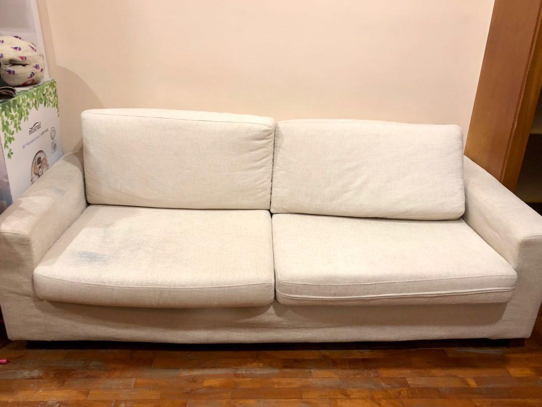 3 Seater White Sofa With Washable