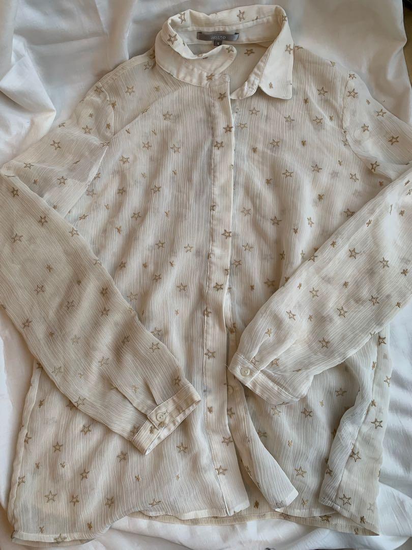 星星刺繡杏色襯衫