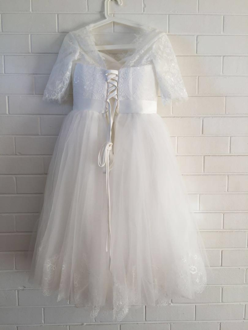A-line/ Princess Tea-length Tulle Wedding Dress/ Ball-gown