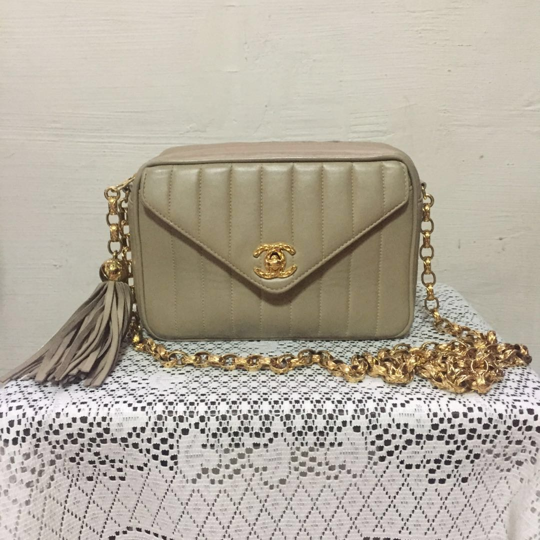 c1fb1dd2ec85 Authentic Chanel Small Vertical Quilt Camera Bag with 24k Bijoux ...