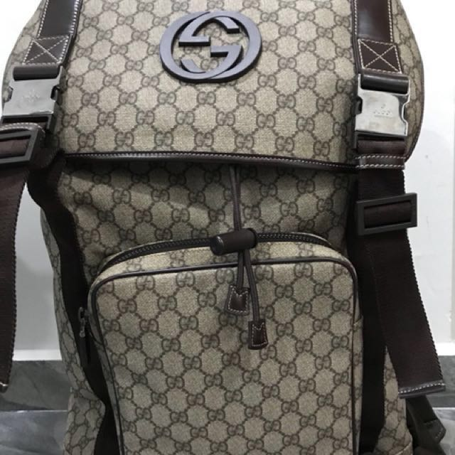 43a713ecd1b3aa Authentic Gucci GG Supreme Canvas Interlocking G Backpack., Luxury ...