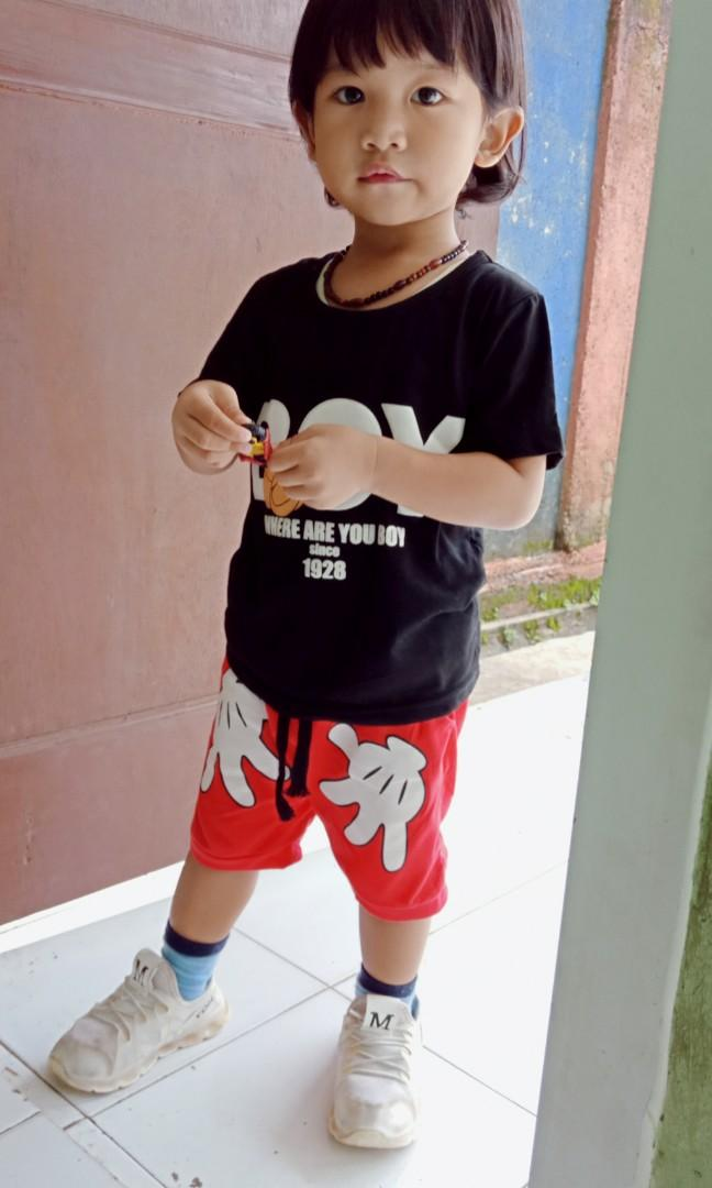 Baju setelan anak setan boy Mickey mouse red black lucu import