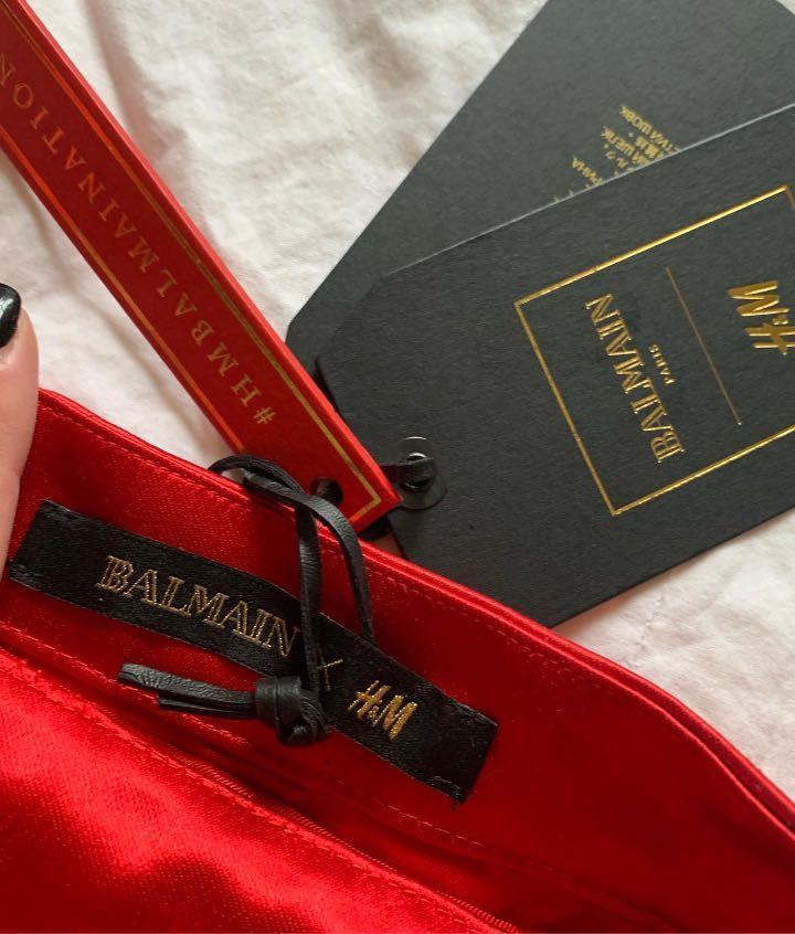 Balmain x H&M Red Silk Skirt - AU Size 8