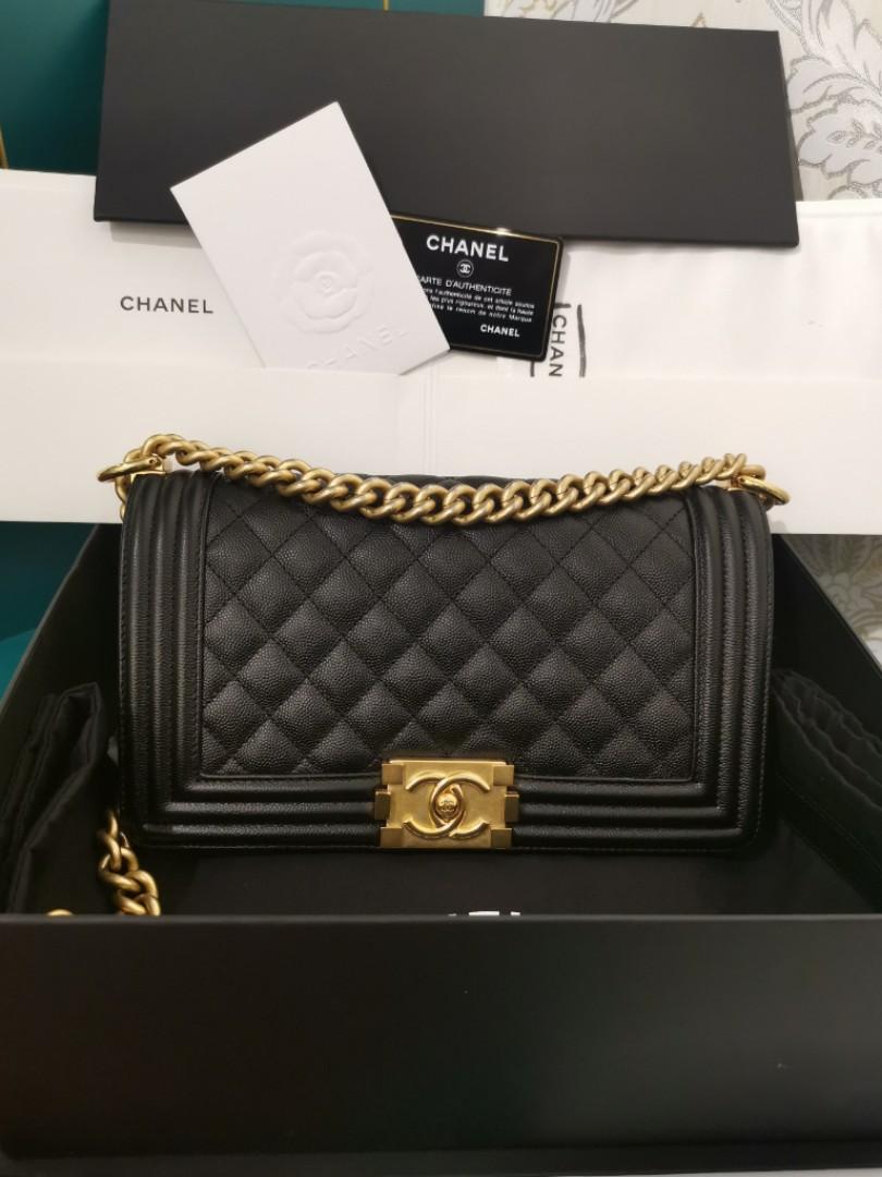 6aa5fad21290 #25 BNIB Chanel Boy Old Medium Black Caviar with aged GHW, Luxury, Bags &  Wallets, Handbags on Carousell