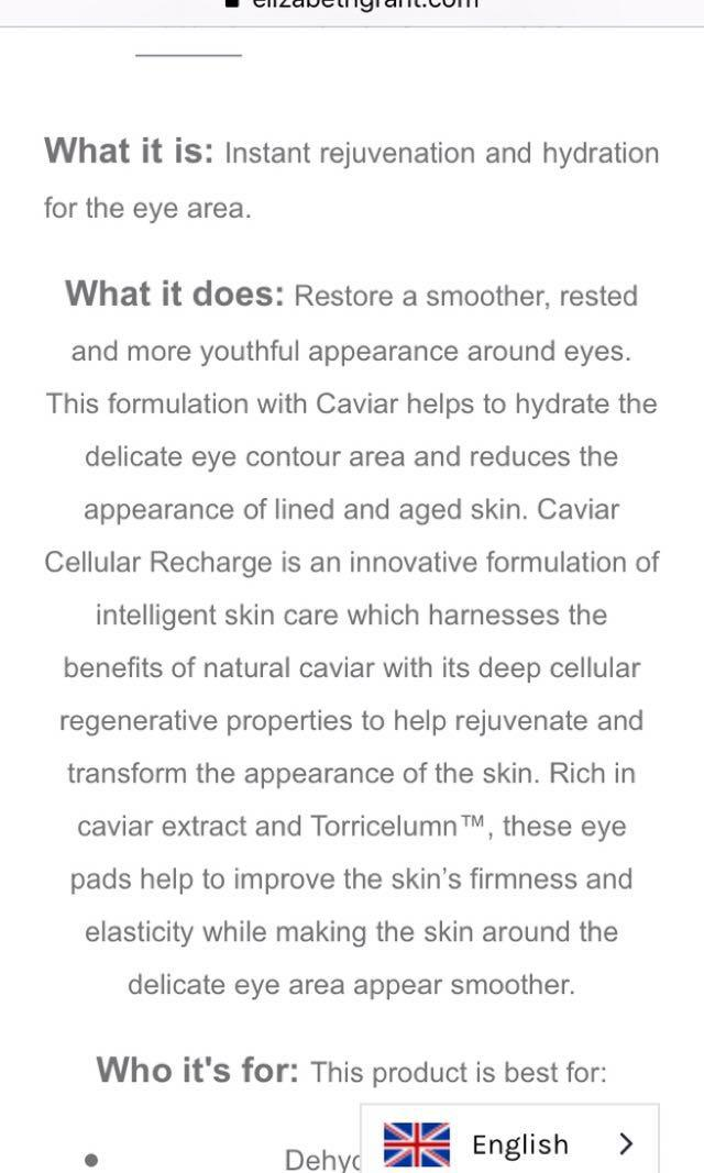 Caviar Super Eye Pads Cellular Recharge with Torricelum by Elizabeth Grant