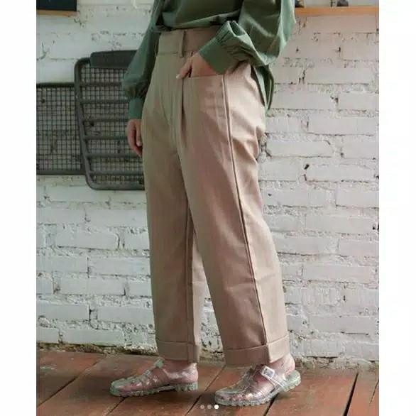 Celana kulot bahan warna krem
