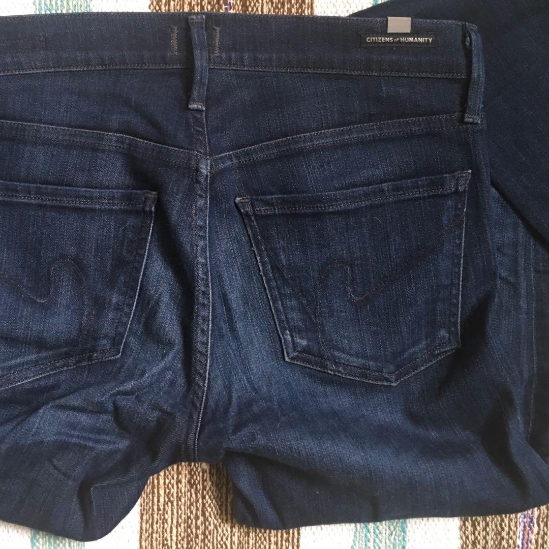 Citizens of Humanity Low Rise Skinny Jeans in Size 27. Dark Wash
