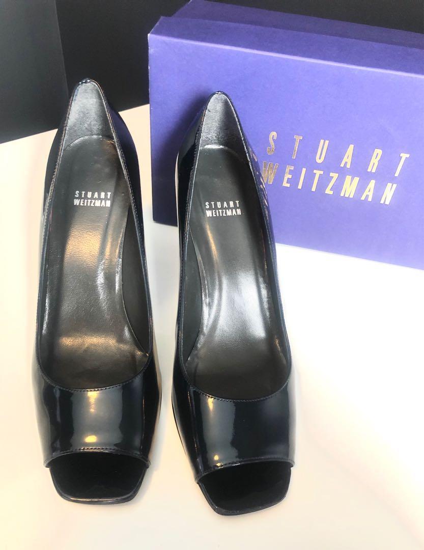 Designer Stuart Weitzman Rhonda navy peep toe heel :: size 10