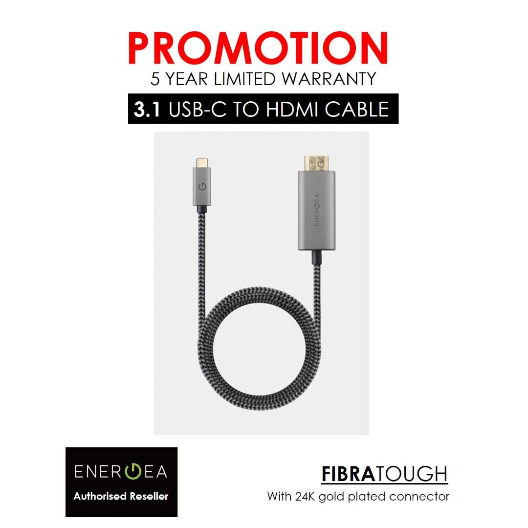 ENERGEA FIBRATOUGH 3.1 USB-C TO HDMI CABLE 4K ULTRA HD