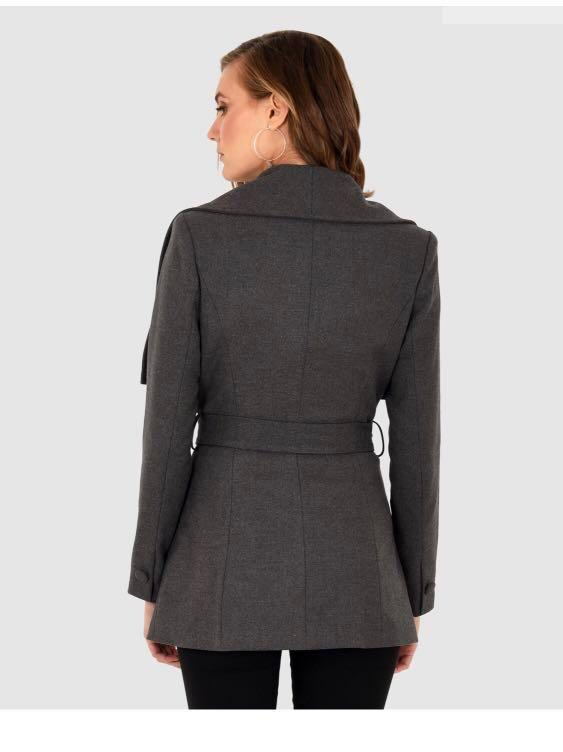 Forcast Sandra Wrap Coat- Charcoal Grey RRP $130 almost brand new