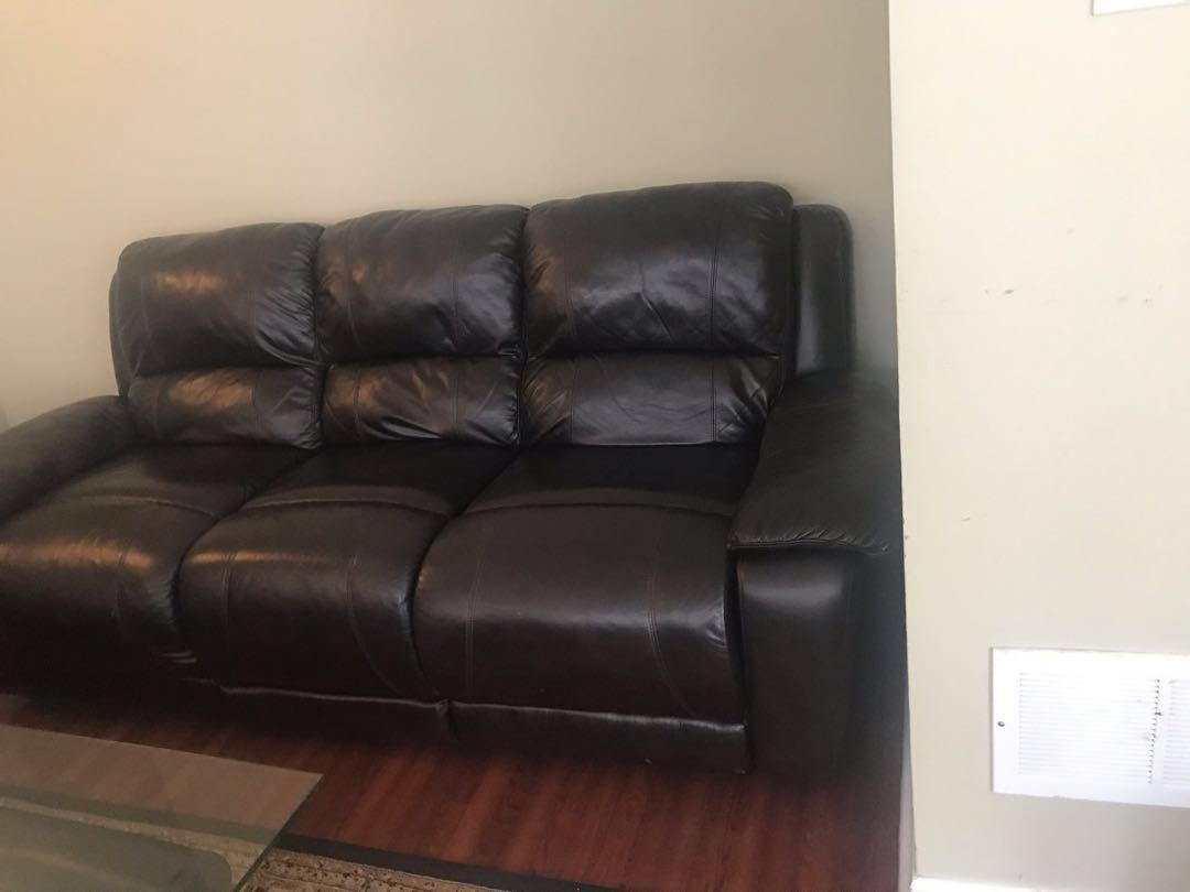 Genuine leather couch from the brink Cindy Crawford line