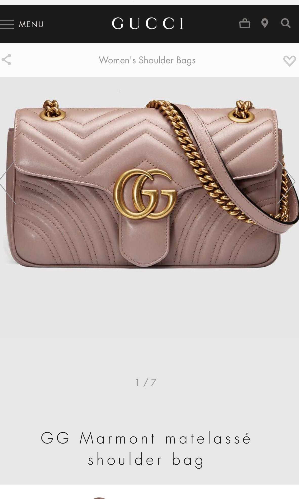 076b0e2840fec4 Gucci Marmont matelasse shoulder bag small in dusty pink, Luxury ...