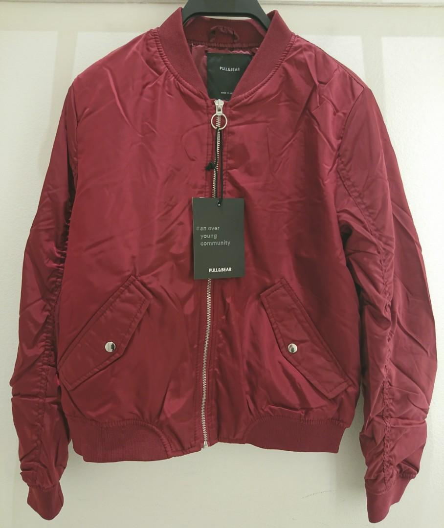 03b56d46e Jaket Bomber Maroon PULL AND BEAR Original, Women's Fashion, Women's ...