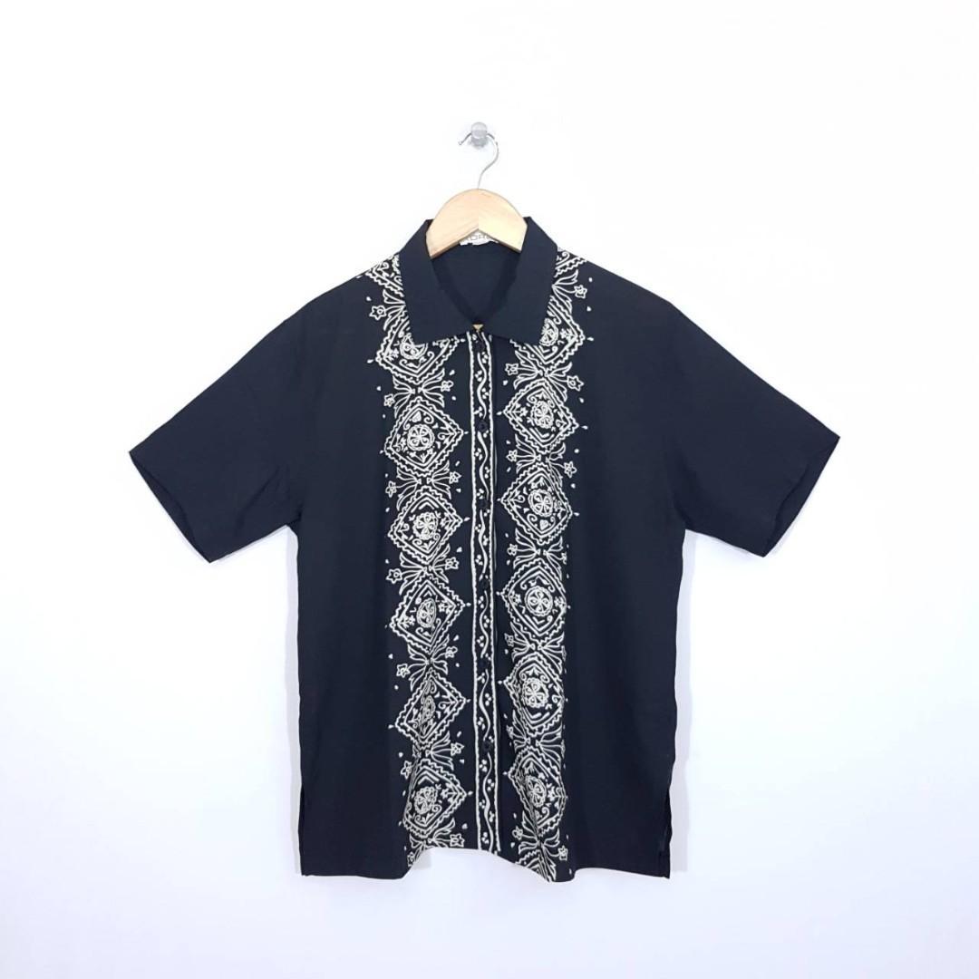 K68 Size LL Kemeja Classic Wanita Hitam Etnik Premium Japan Fashion