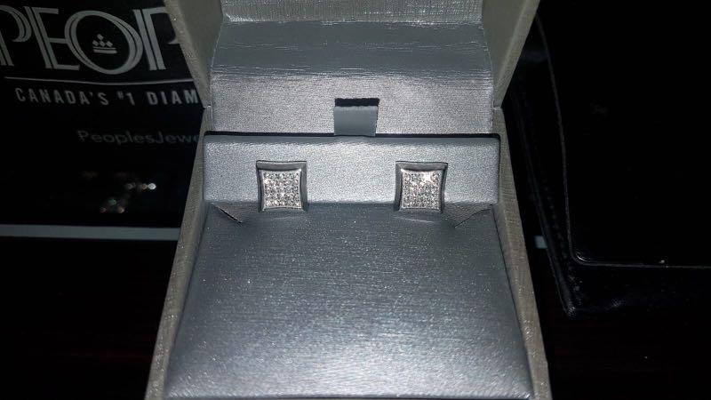 Men's Shaquille O'Neal 0.25 CT. T.W. Diamond Square Stud Earrings in Stainless Steel