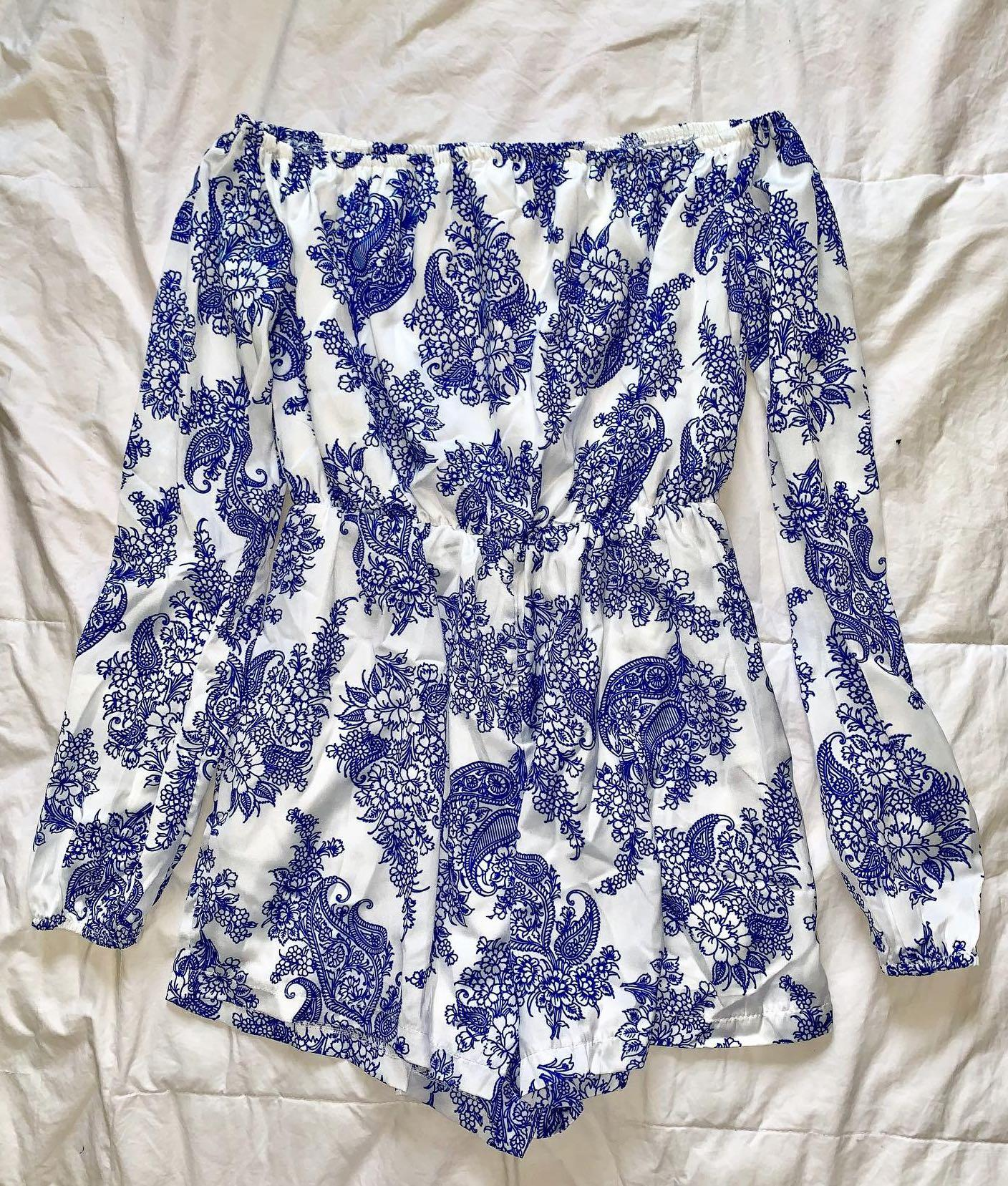 Missguided Silky Porcelain Bardot Playsuit in Blue - AU Size 6