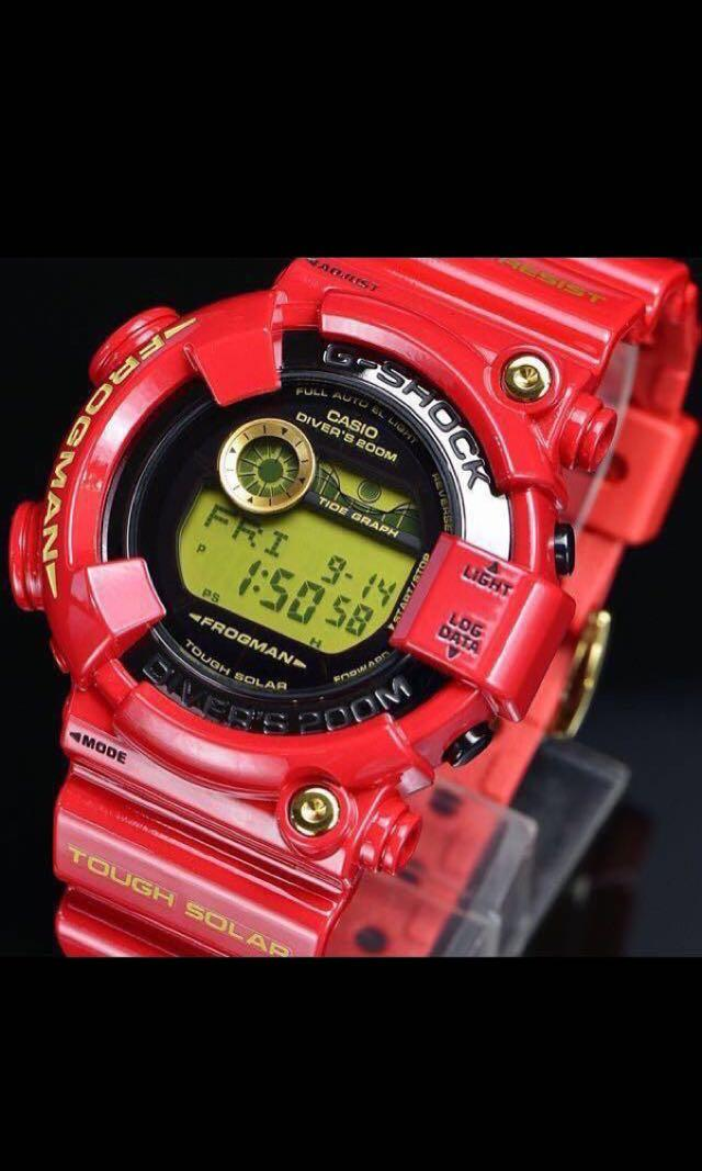 New Authentic Sealed Casio G-Shock 30th Anniversary Rising Red Frogman GF-8230A-4 Band and Bezel with Studs set limited edition and very rare