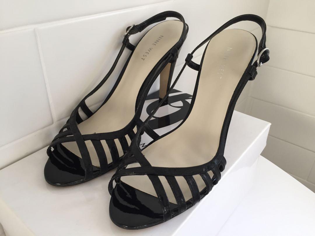 Nine West Solelyn Black Patent Strappy Heel / Women's Sz 7.5