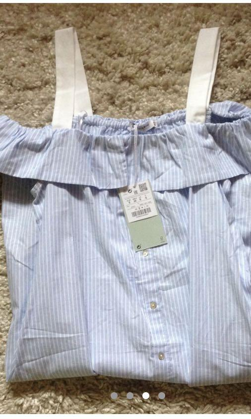 Pull&Bear Cold Shoulder Blue and White Stripe Summer Dress - Size Small - New with tags