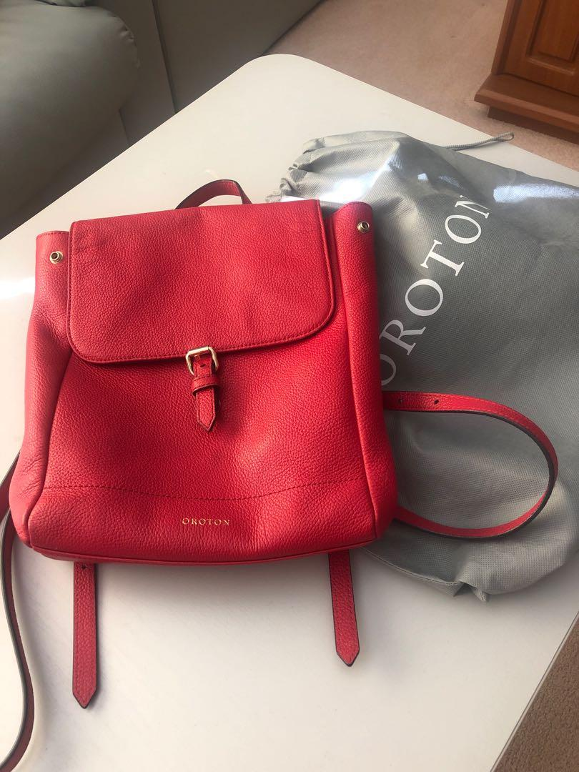Red leather oroton backpack