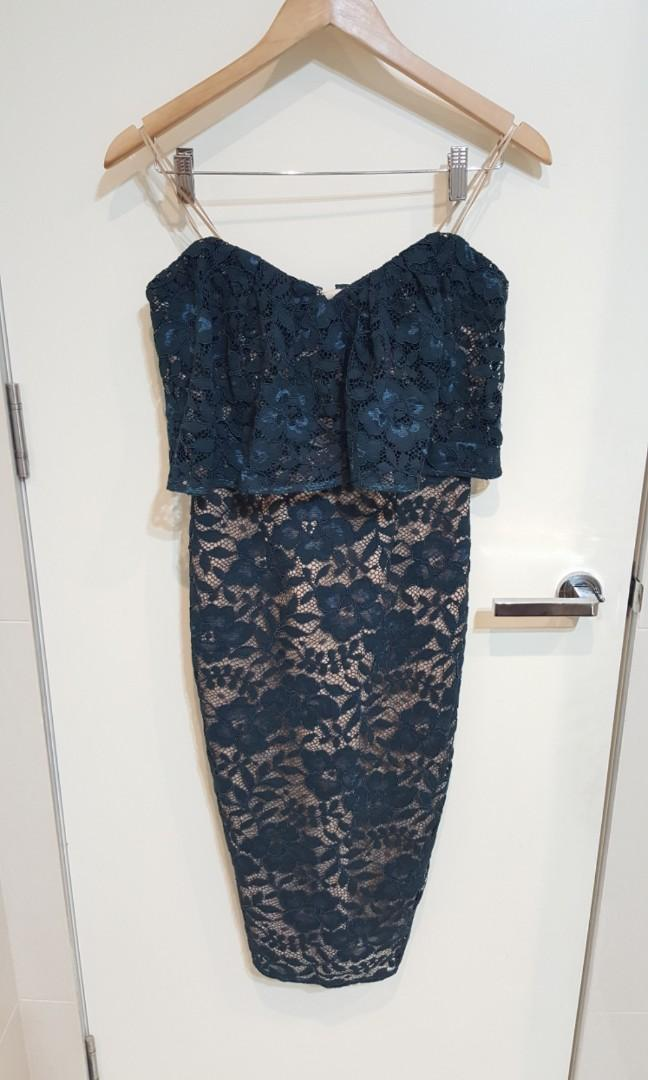 """Rodeo Show"" Dark Turquoise Lace Bandeau Midi Evening/Formal Fully Lined Pencil Dress - NWT (Size 8)"