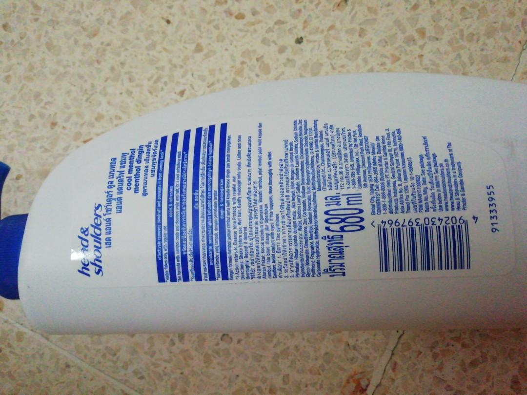 Shampoo Head&Shoulders 680ml Cool Menthol, New