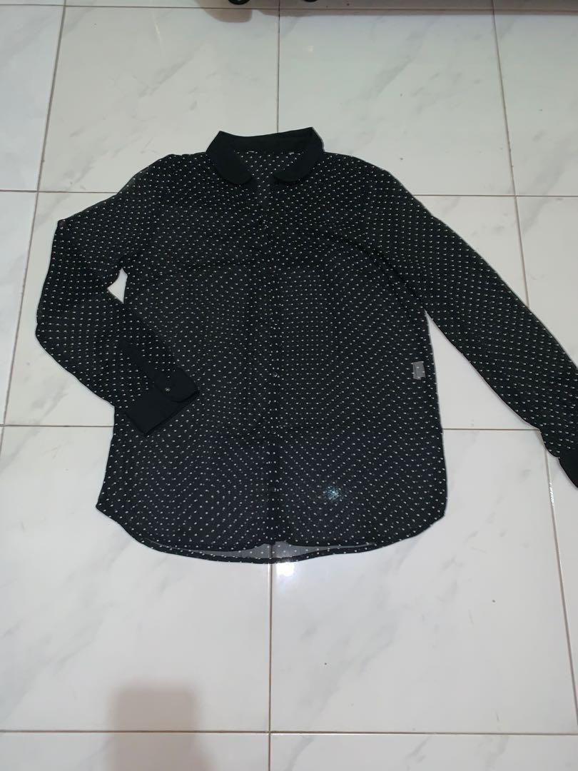 Sheer black polkadots shirt