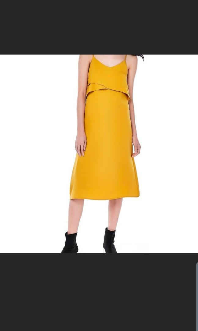 The Editors Market TEM lyara layered midi dress in mustard