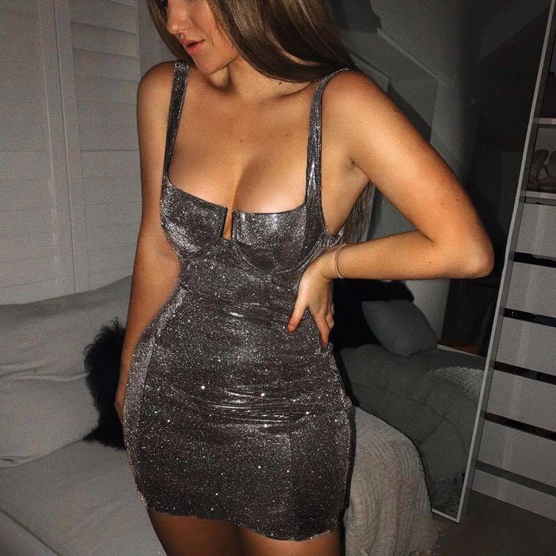Tobinoone Sexy Bodycon Dress Sleeveless Spaghetti Strap Stretchy Package Hip Short Party Mini Dress Women Club Dress Vestido