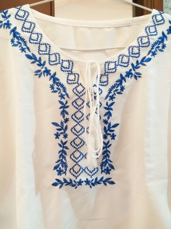 White blue embroidered boho blouse