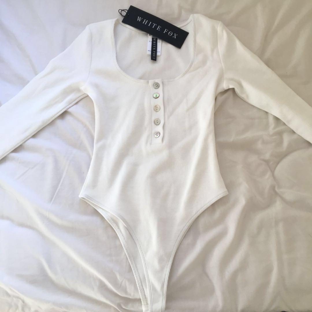 Whitefox white long sleeve bodysuit